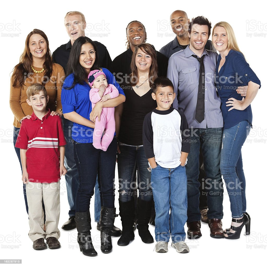 Diverse Group of Happy People, Full Body, Isolated on White royalty-free stock photo
