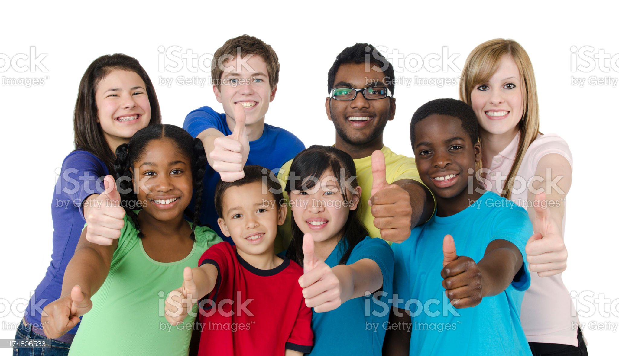 Diverse group of kids and teenagers royalty-free stock photo