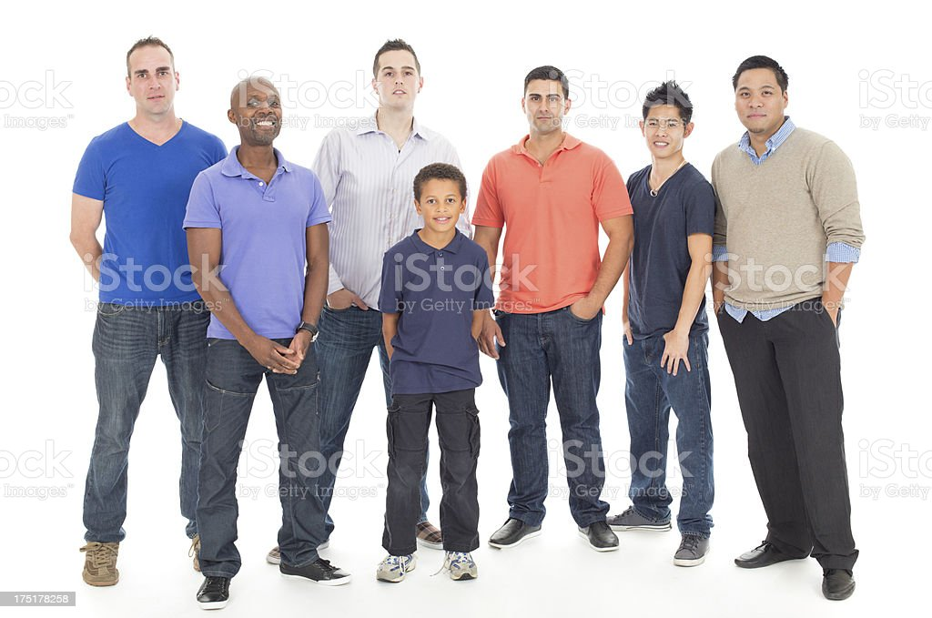 Diverse group of males royalty-free stock photo
