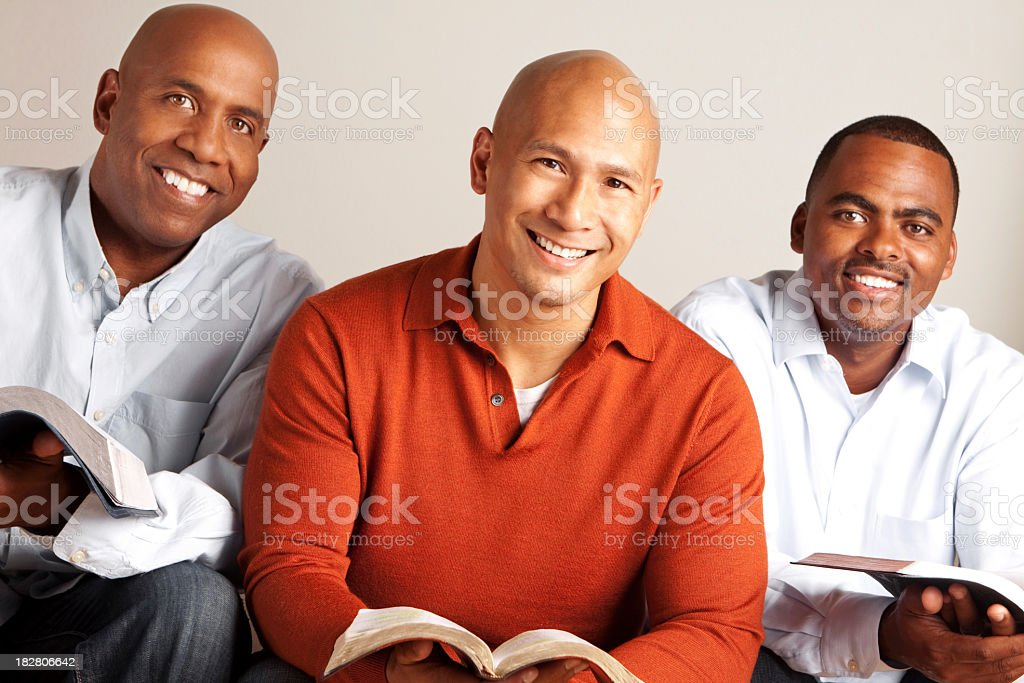Diverse Group of Men reading stock photo