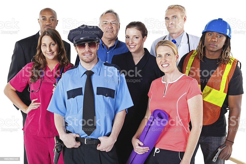Diverse Group of People in Various Professions, Isolated on White royalty-free stock photo