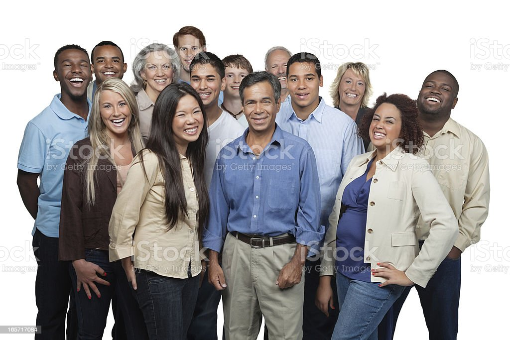 Diverse group of people laughing together royalty-free stock photo