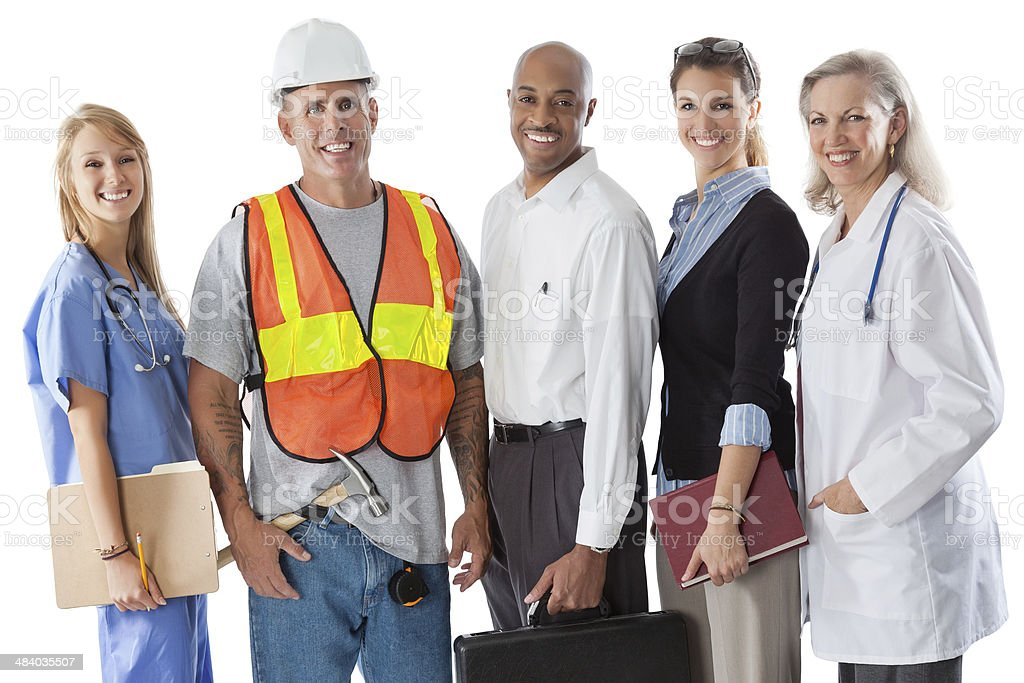Diverse group of people with different careers; studio shot stock photo