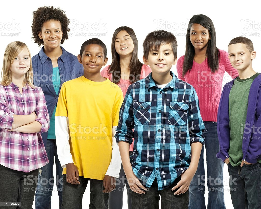 Diverse Group of Preteens - Isolated royalty-free stock photo