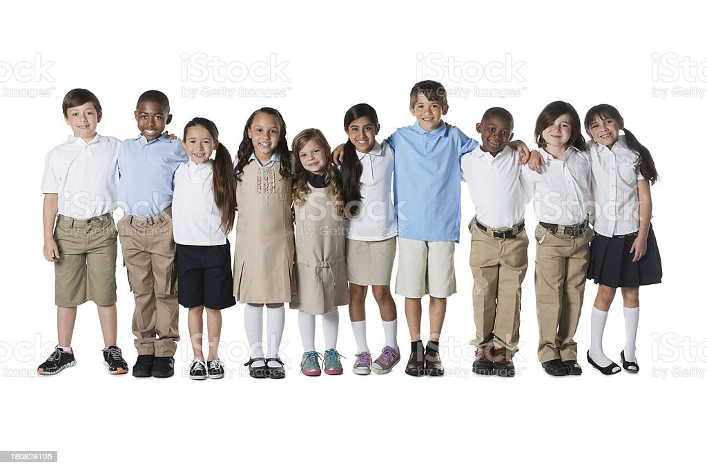 Diverse group of private school students; studio shot stock photo