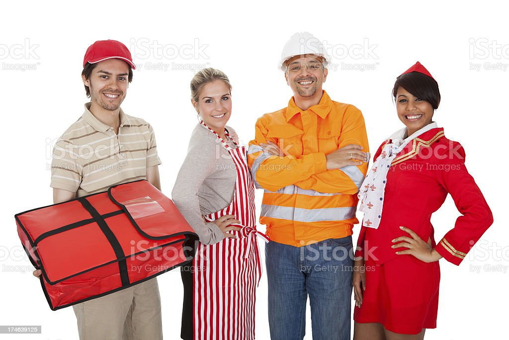 Diverse group of smiling workers royalty-free stock photo