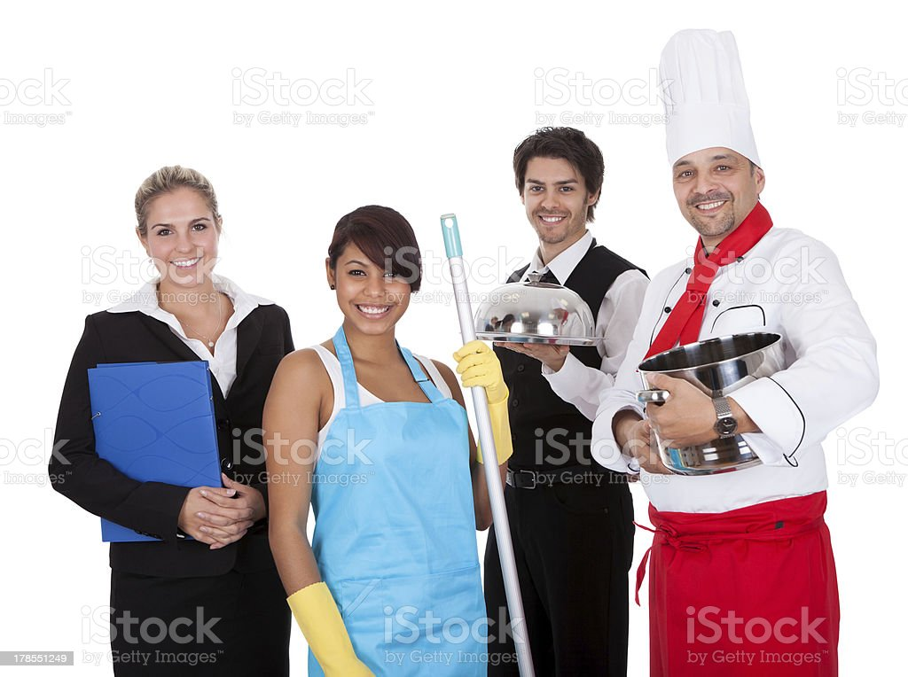 Diverse group of smiling workers stock photo