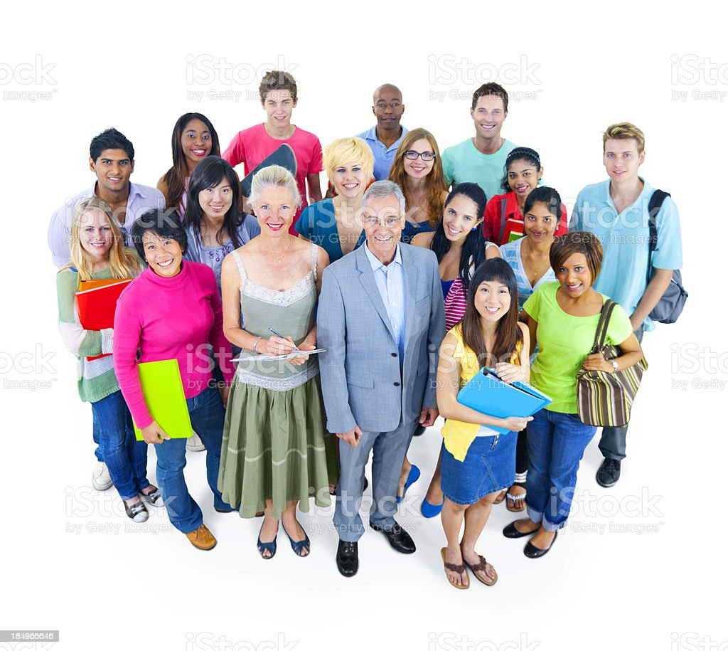 Diverse group of students and teachers royalty-free stock photo