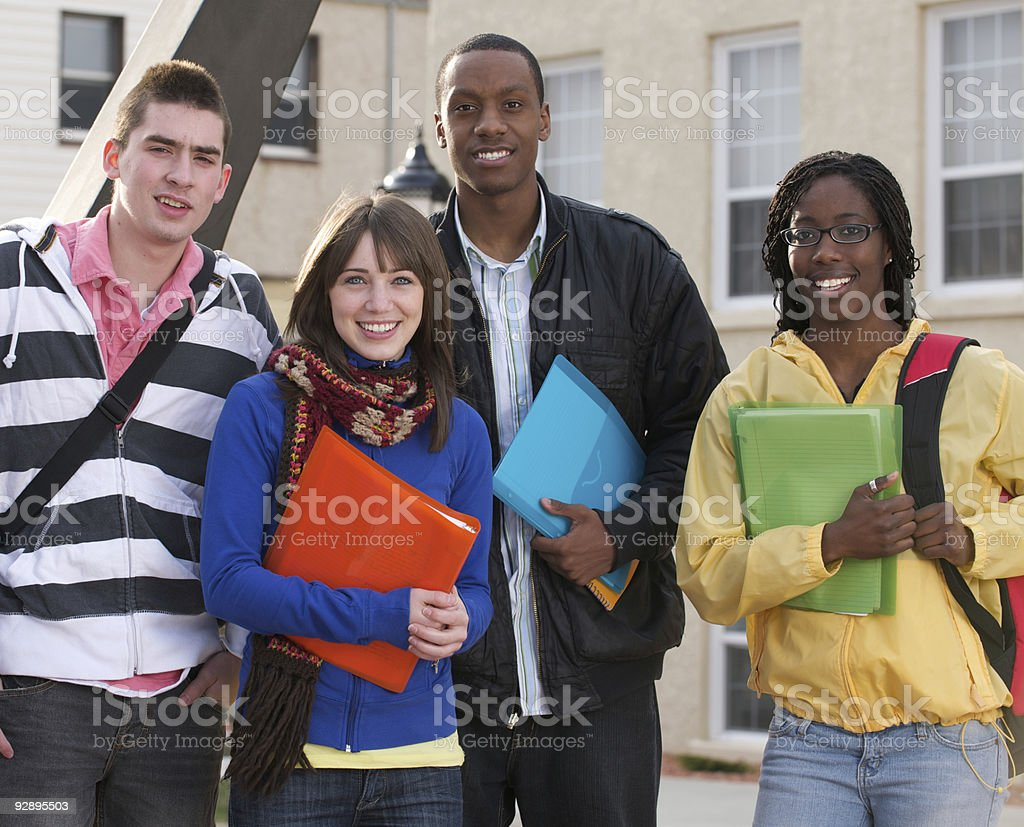 Diverse group of students outside royalty-free stock photo