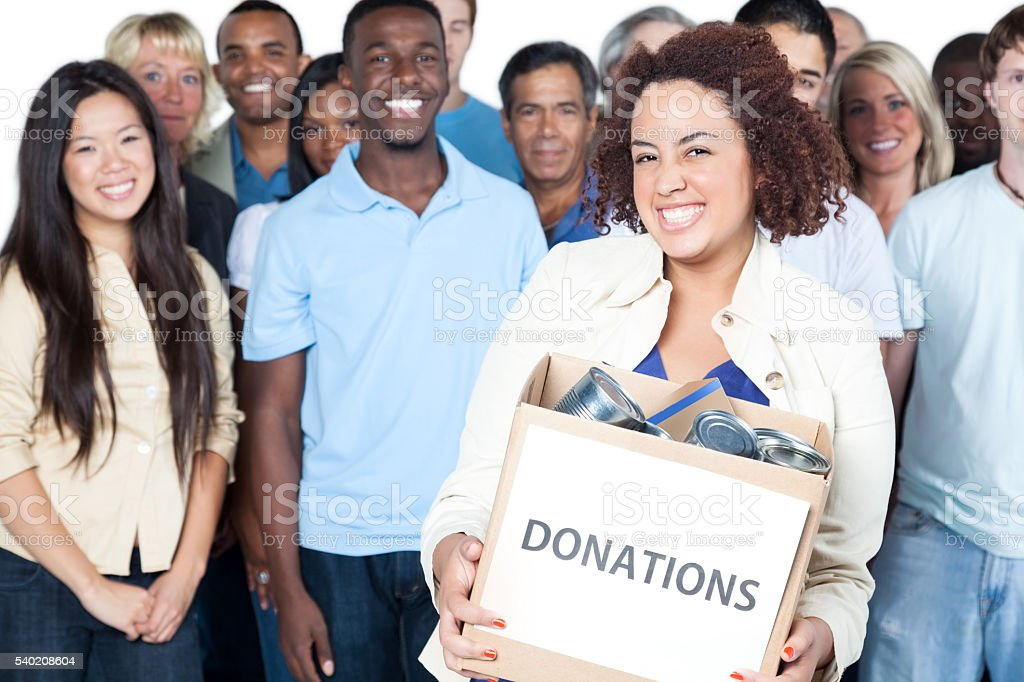 Diverse group of volunteers stock photo