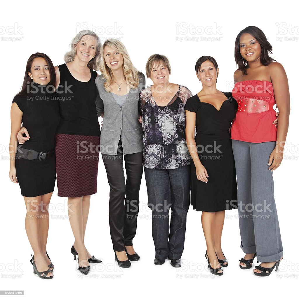 Diverse Group of Women, Isolated on White royalty-free stock photo