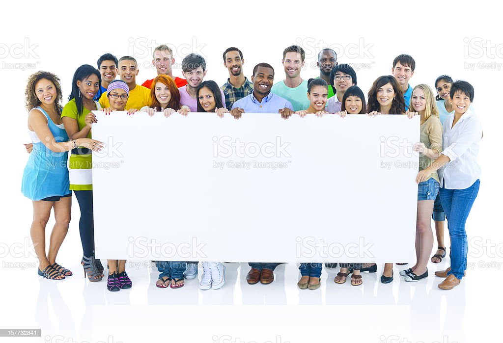 Diverse group of young people celebrating royalty-free stock photo