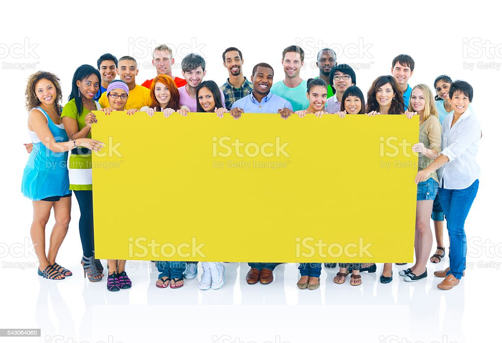Diverse Group People Holding Placard Concept stock photo