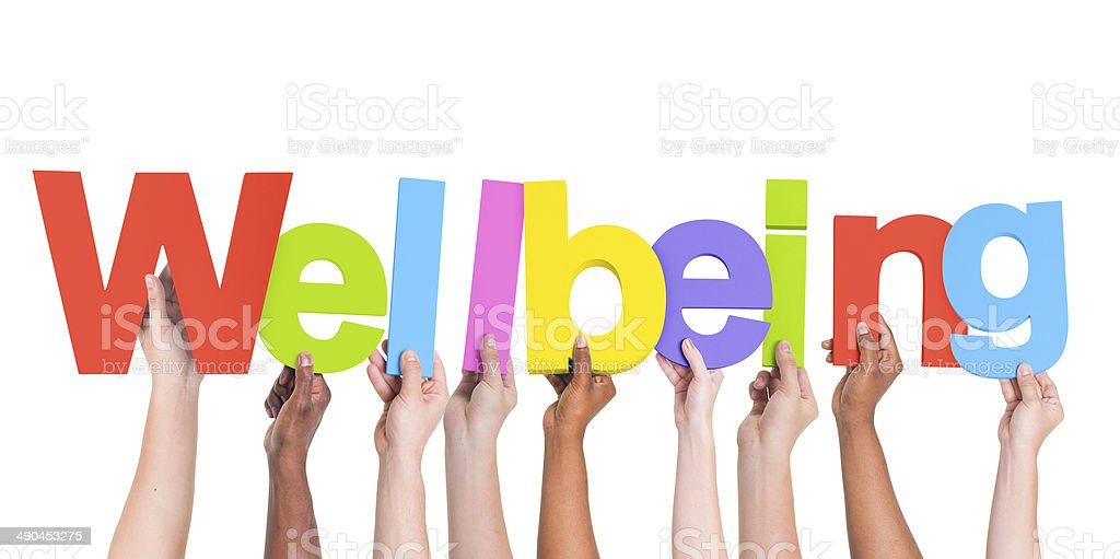 Diverse Hands Holding The Word Wellbeing stock photo
