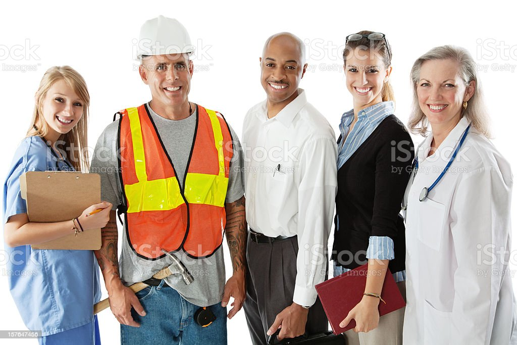 Diverse Happy Professionals, Isolated on White royalty-free stock photo
