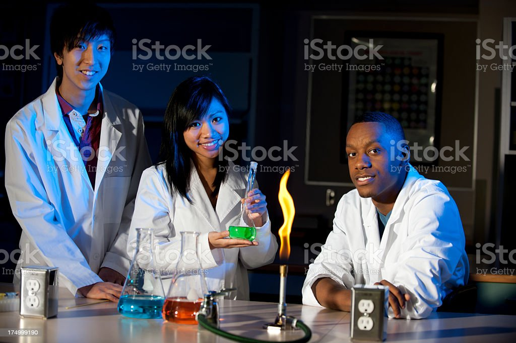 Diverse High School Science Class stock photo