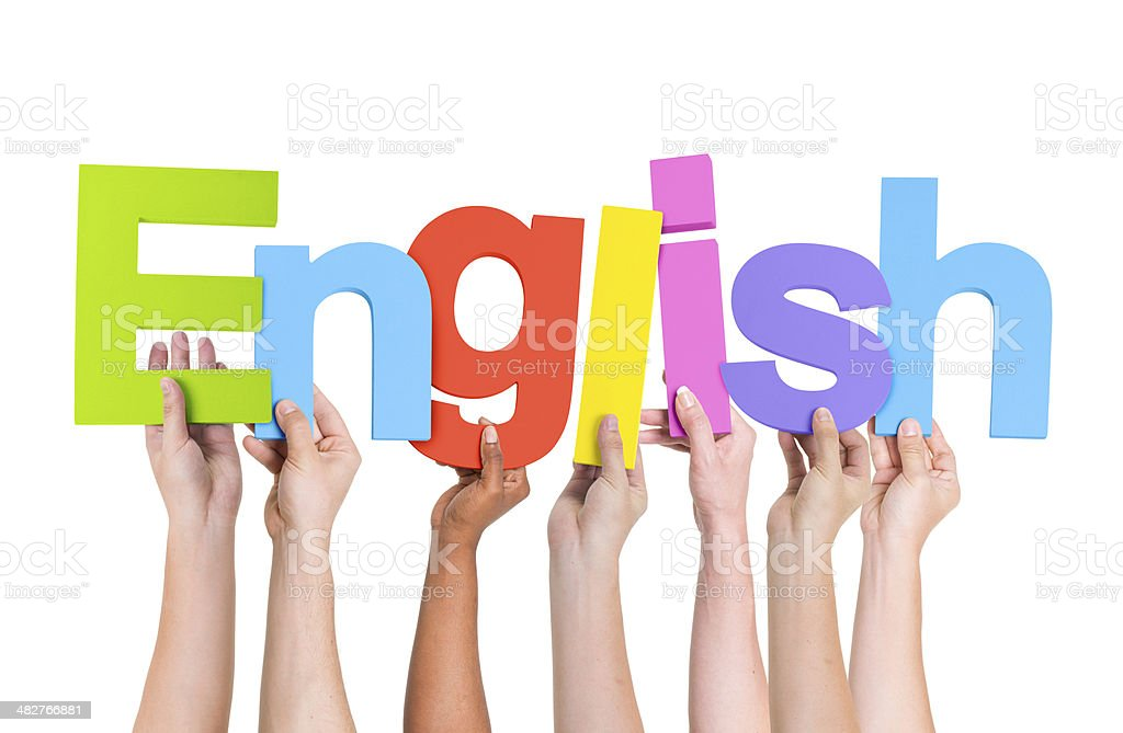 Diverse Human Hands Holding Word English stock photo