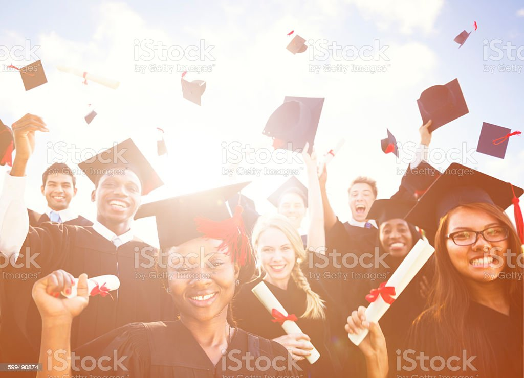 Diverse International Students Celebrating Graduation Concept stock photo