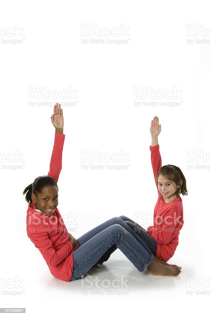 Diverse multicultural children font letter W pink stock photo