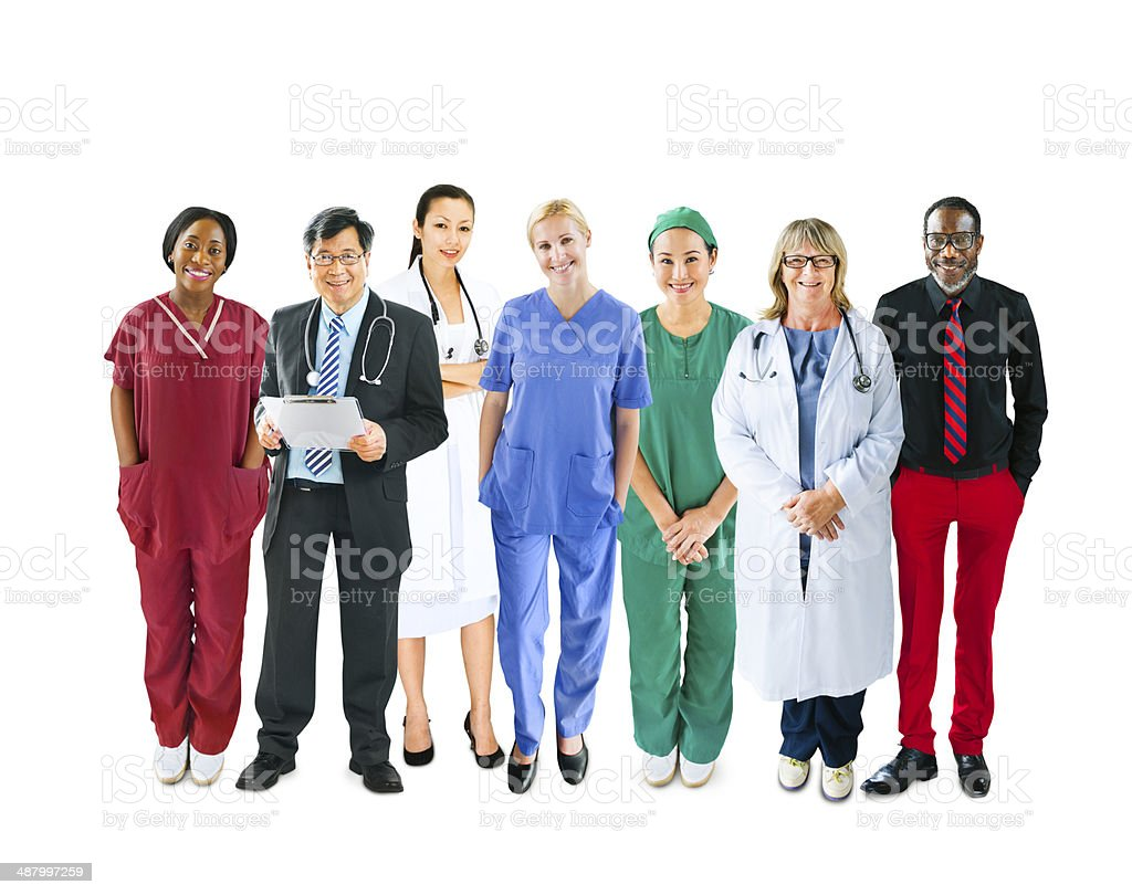 Diverse Multiethnic Cheerful Medical Team stock photo