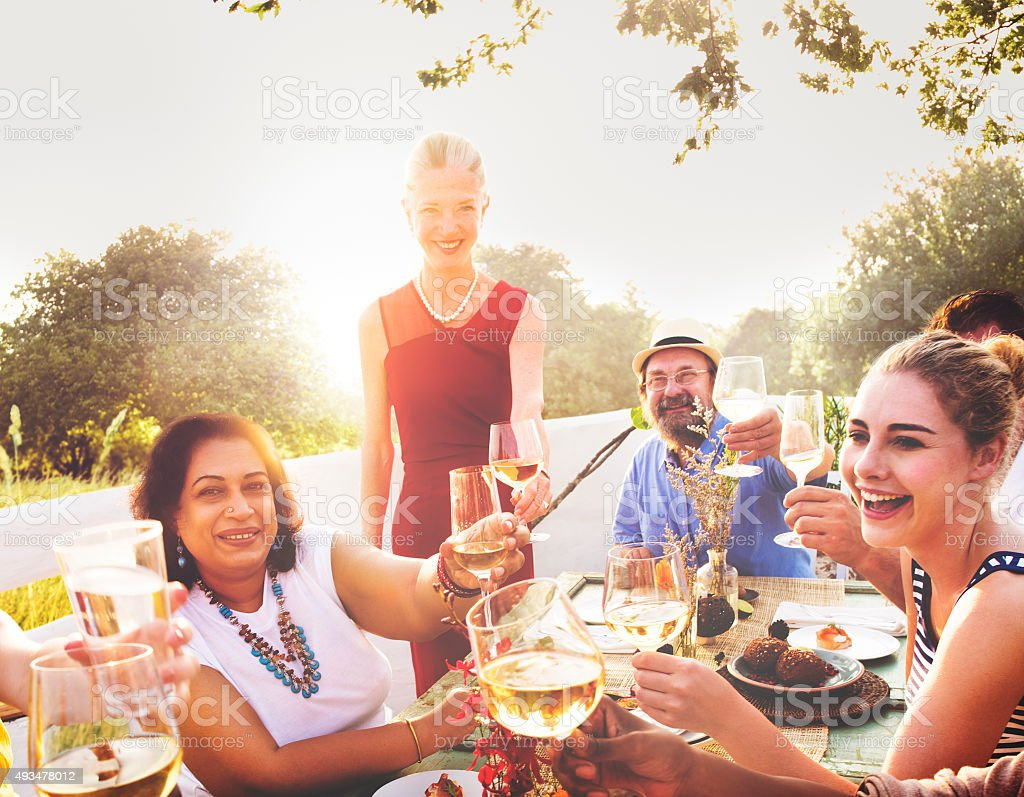 Diverse Neighbors Drinking Party Yard Concept stock photo