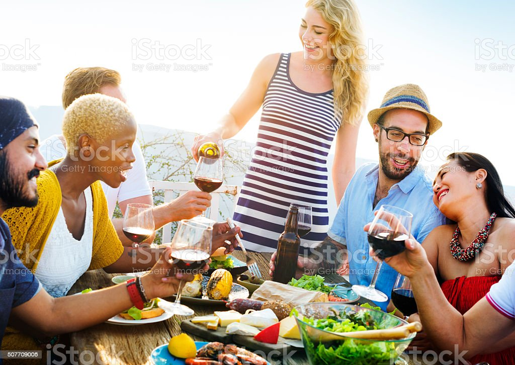 Diverse People Friends Hanging Out Drinking Concept stock photo
