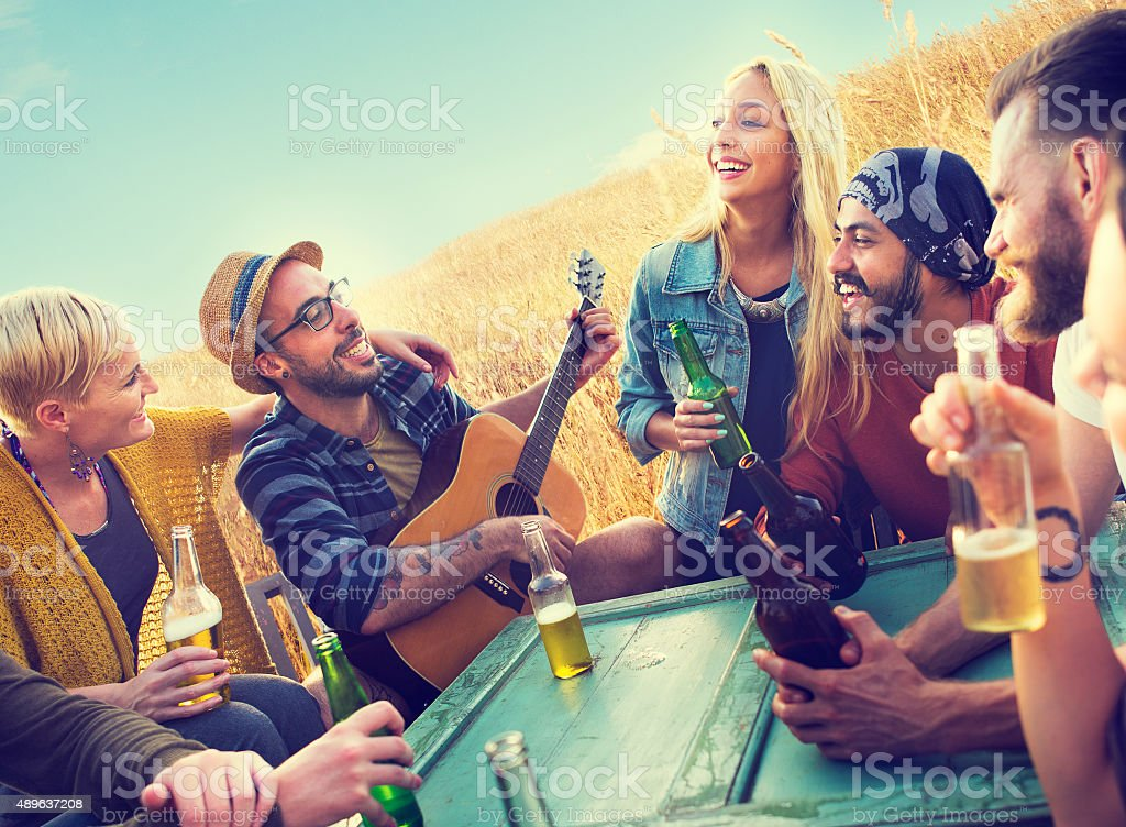 Diverse People Friends Hanging Out Happiness Concept stock photo