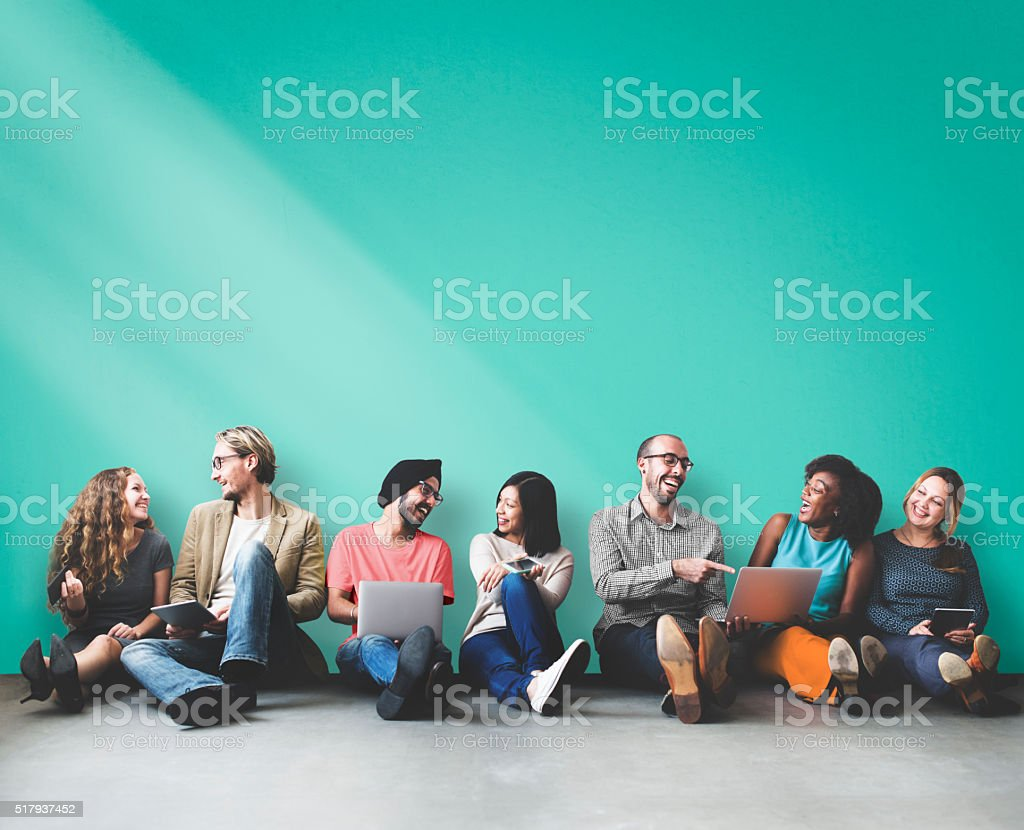 Diverse People Friendship Digital Device Copy Space Concept stock photo