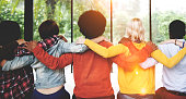 Diverse People Friendship Togetherness Connection Rear View Conc