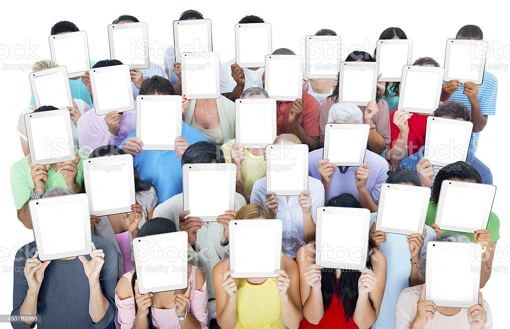 Diverse People Holding the Tablet's Covering their Faces stock photo