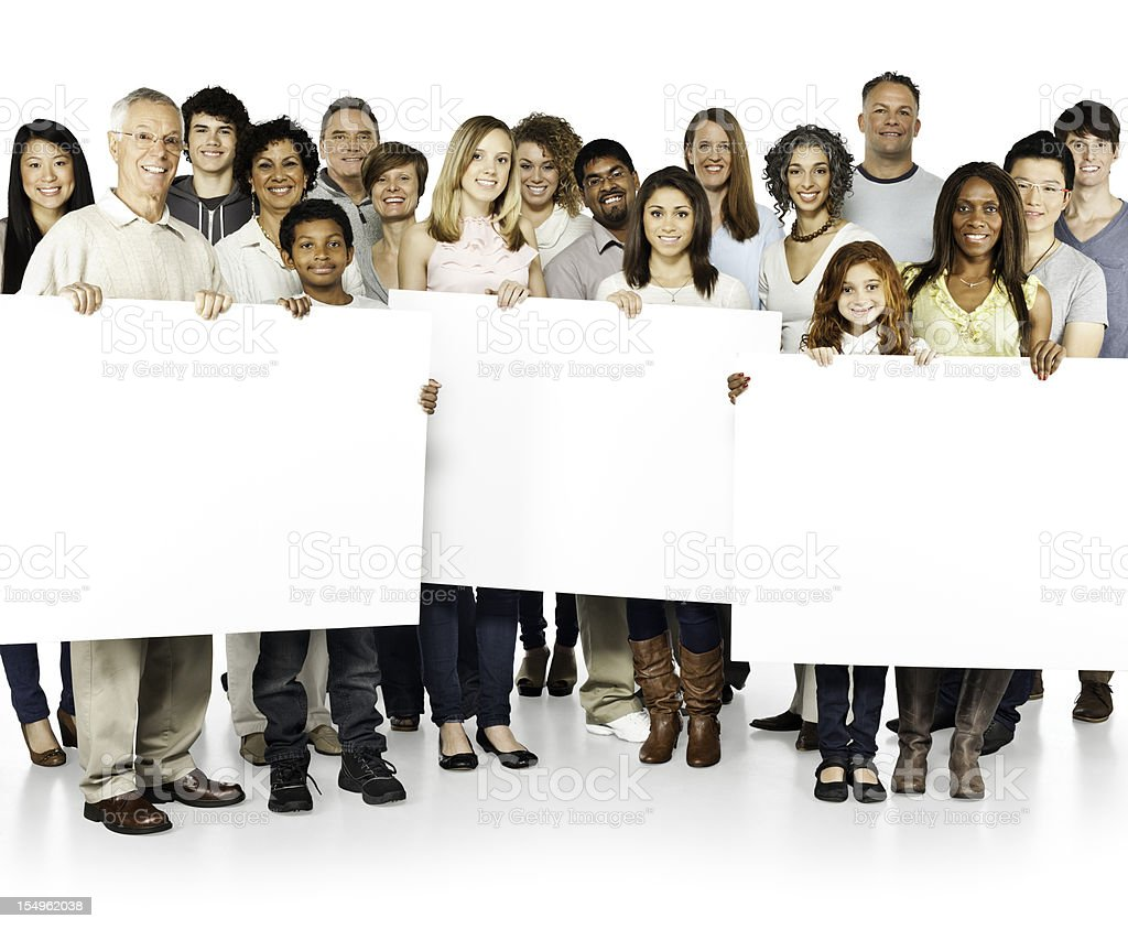 Diverse People (Community) Holding Up Signs royalty-free stock photo