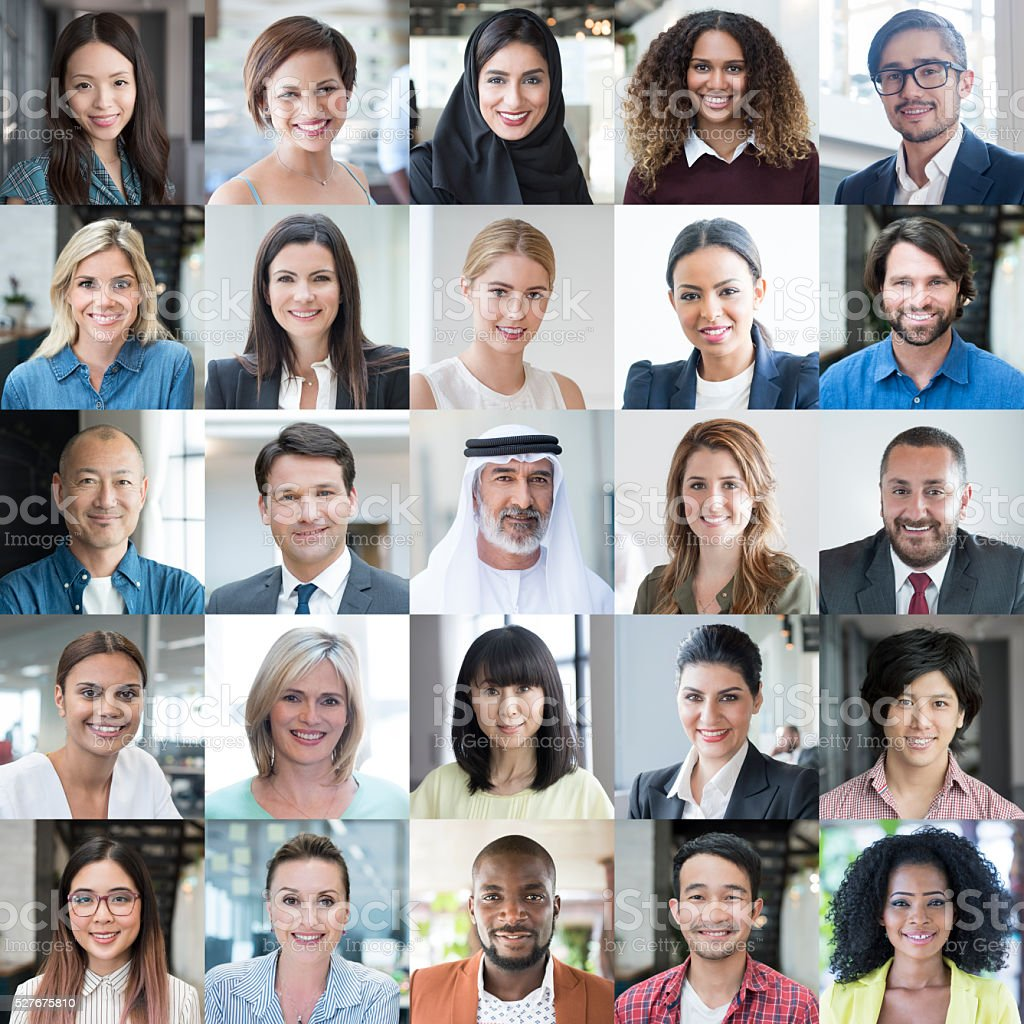 Diverse People Smiling - Headshot Portraits Collage stock photo