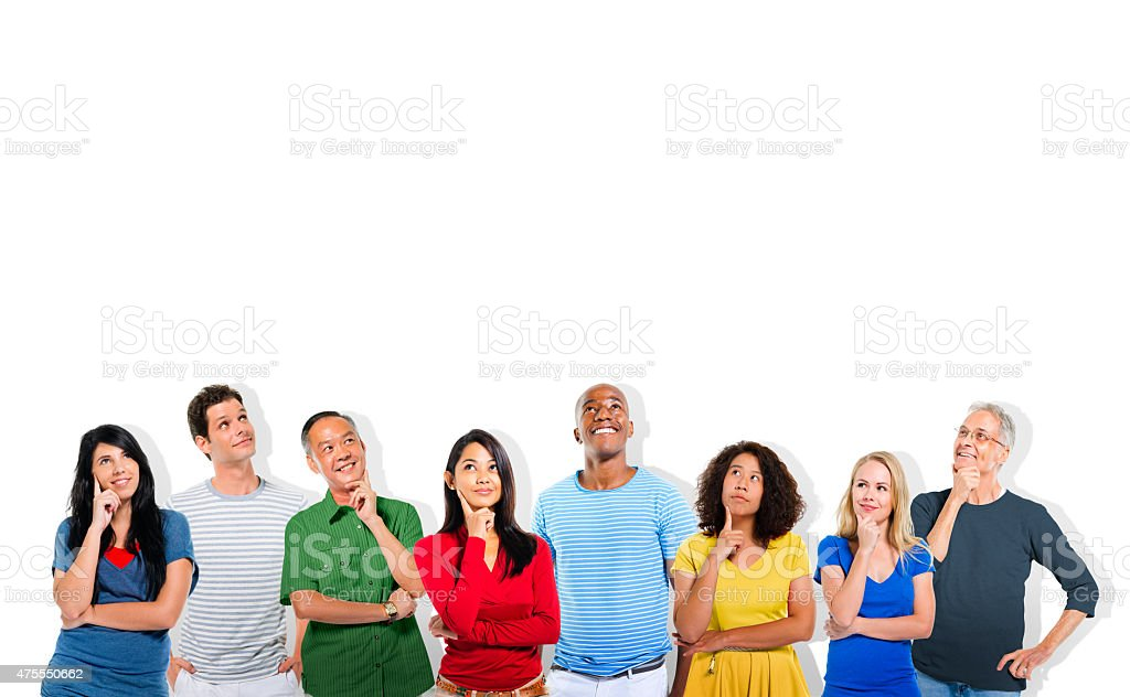 Diverse People Thinking and Copy Space stock photo