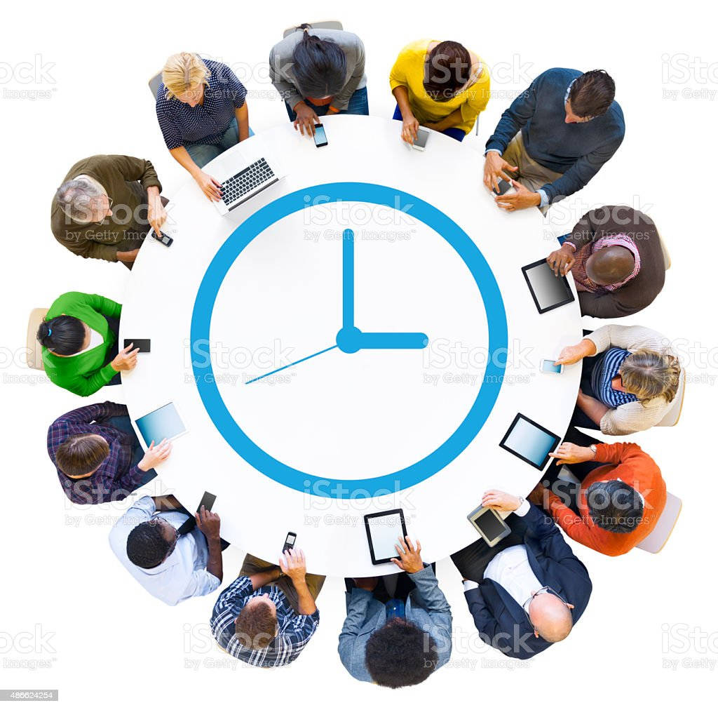 Diverse People Using Digital Devices with Clock Symbol stock photo