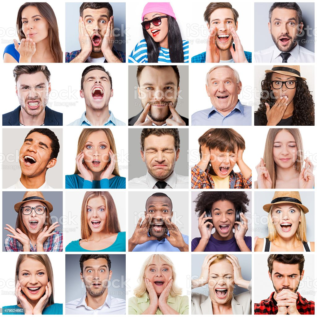Collage of diverse multi-ethnic and mixed age range people expressing...