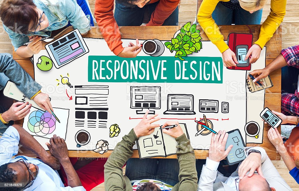 Diverse People Working and Responsive Design Concept stock photo