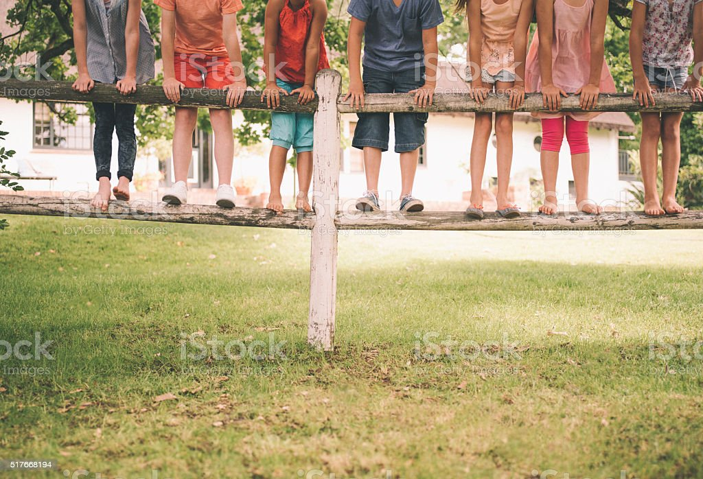 Diverse row of children standing on a wooden fence stock photo