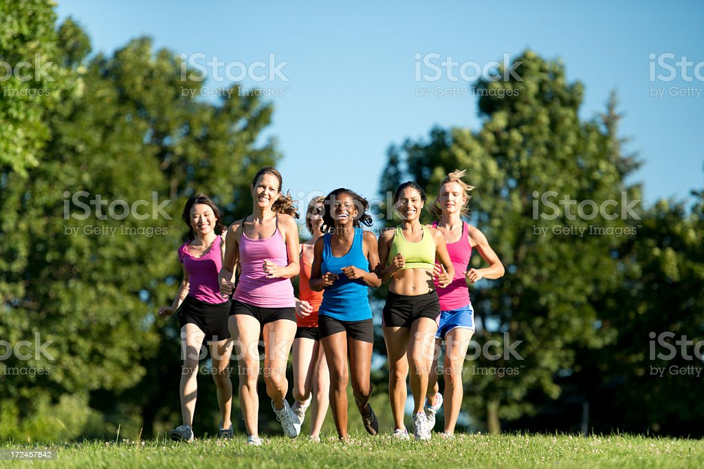 Diverse Running Group royalty-free stock photo