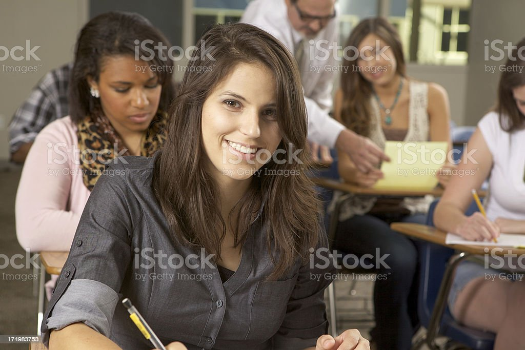 Diverse Students and Teacher in Classroom royalty-free stock photo