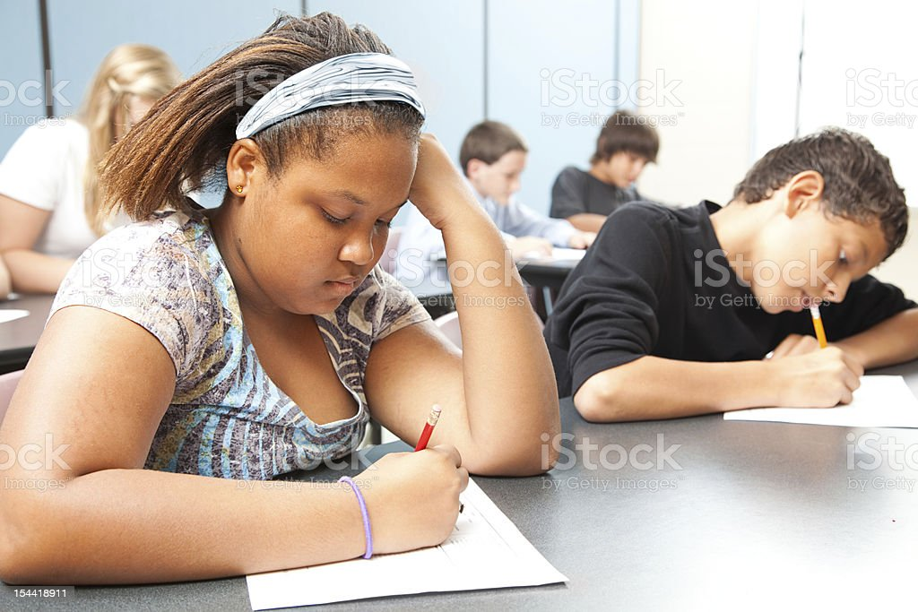 Diverse Students - Objective Testing royalty-free stock photo