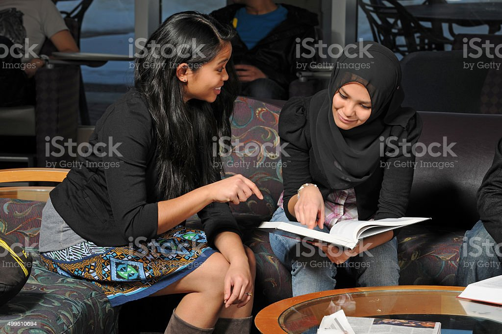 Diverse Students Studying stock photo