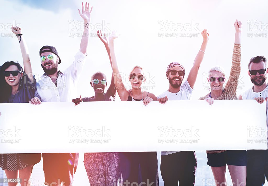 Diverse Summer Friends Fun Copy Space Concept stock photo