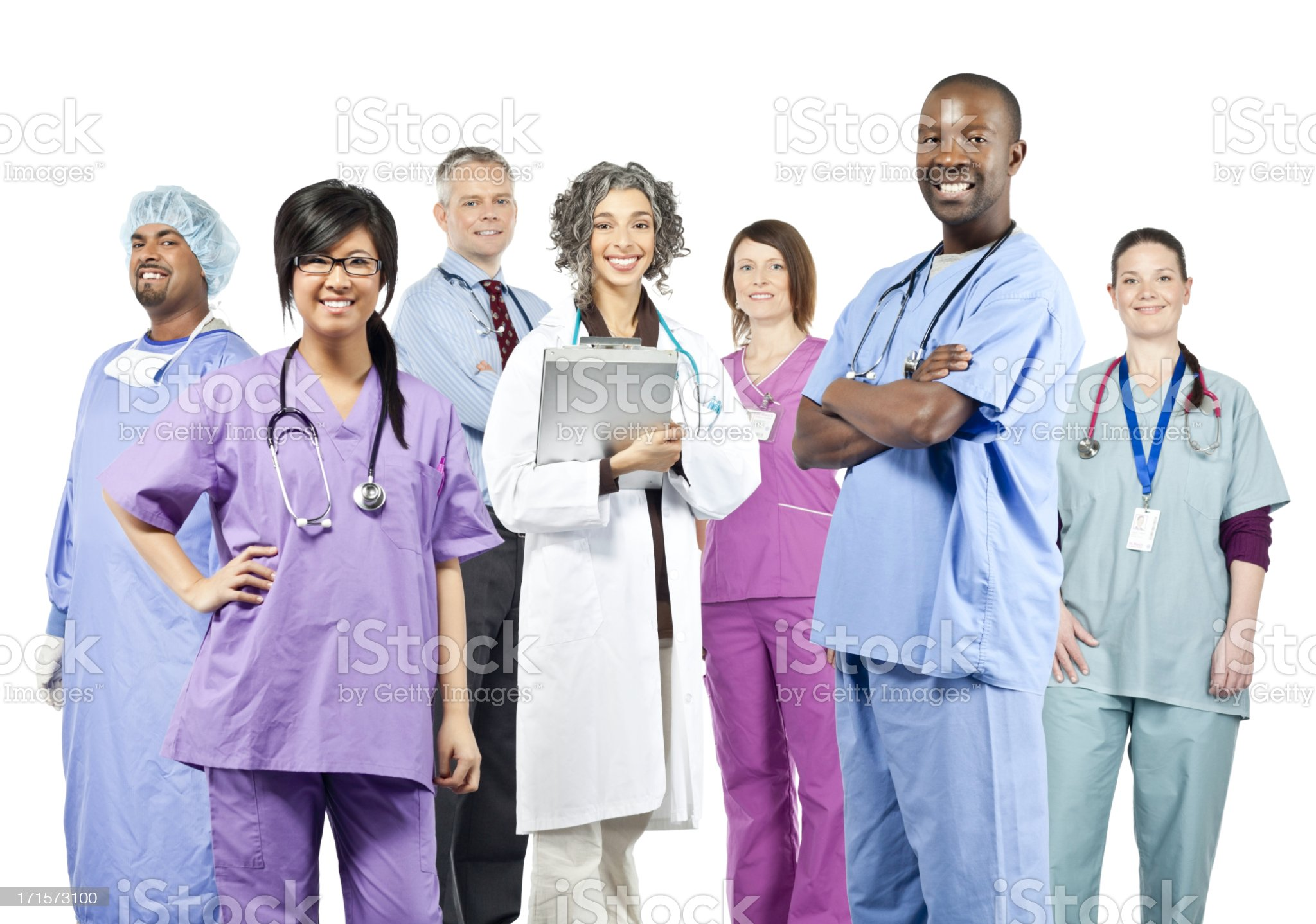 Diverse Team of Health Care Professionals (Isolated) royalty-free stock photo