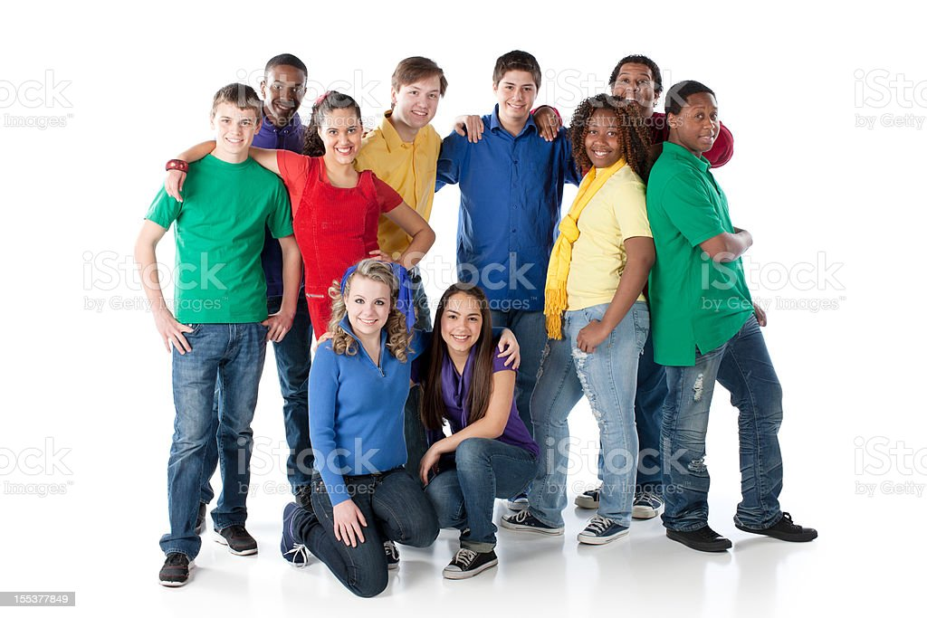 Diverse Teenagers: Multi-Racial Group Standing Together Colorful stock photo
