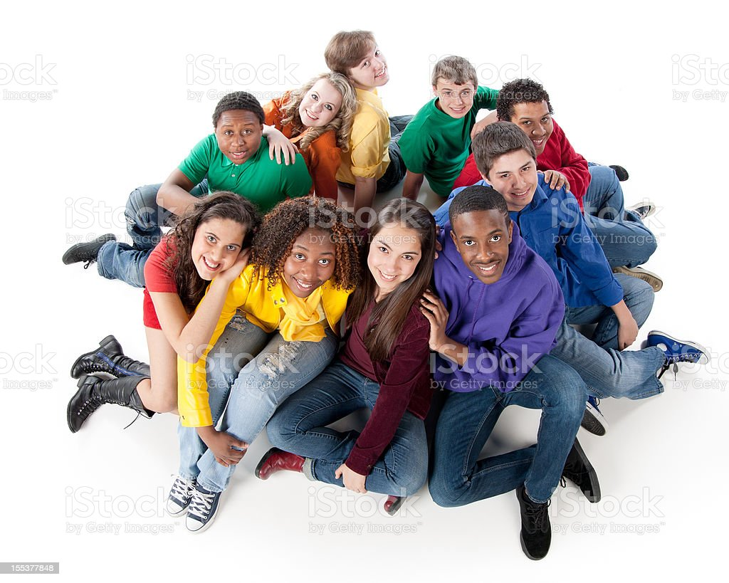 Diverse Teenagers: Multi-Racial Group Together Colorful Friendship stock photo