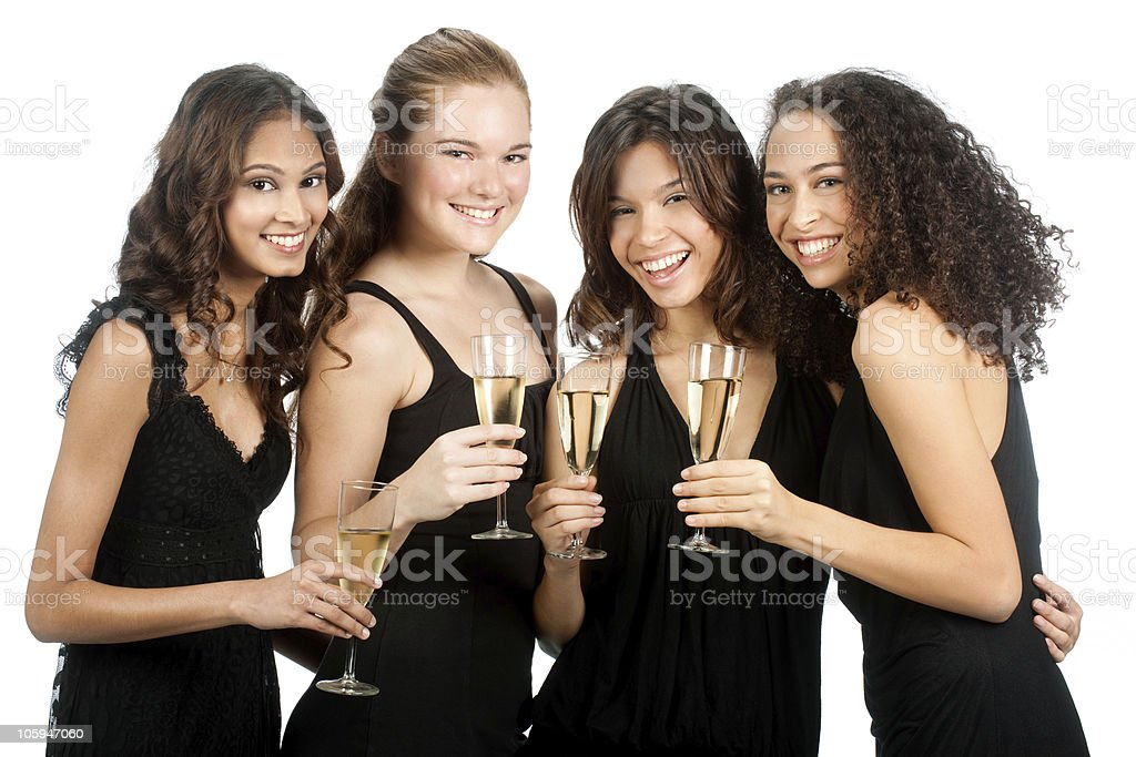 Diverse Teenagers with Wineglasses royalty-free stock photo
