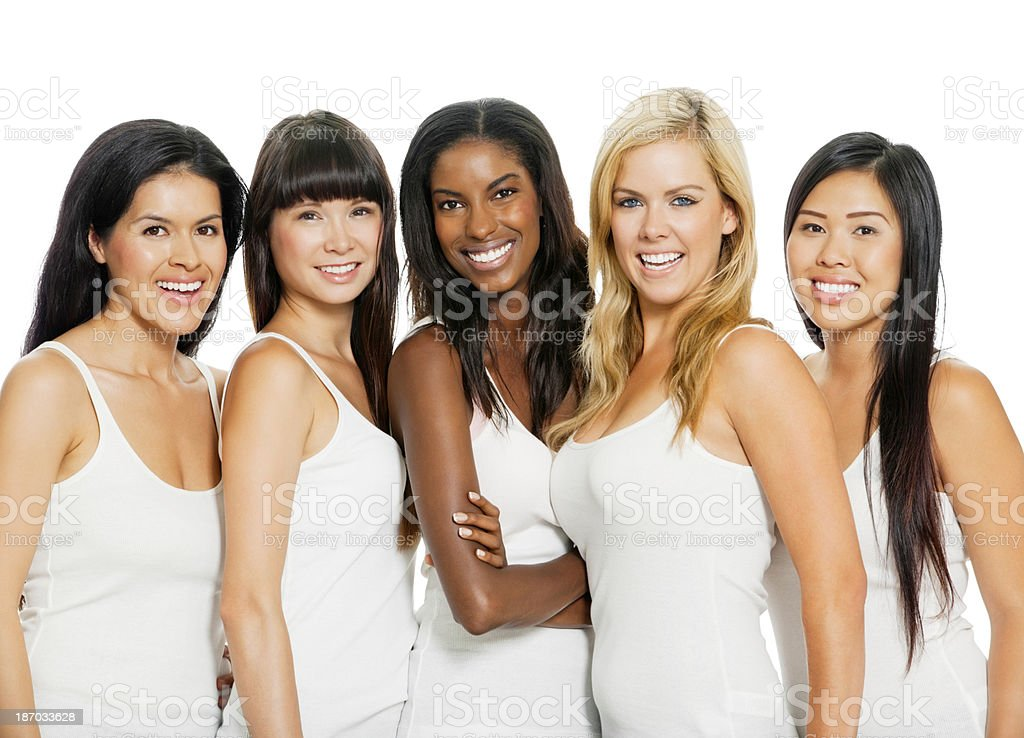 Diverse Women Isolated On White (with Clipping Path) stock photo
