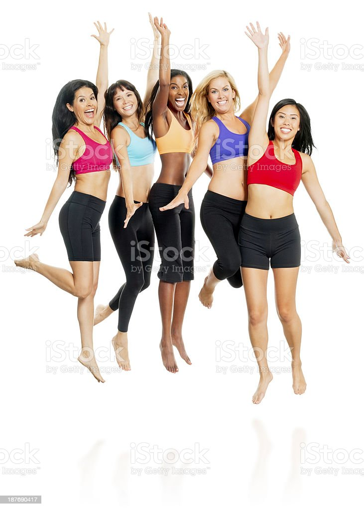 Diverse Women Jumping - Isolated on White royalty-free stock photo