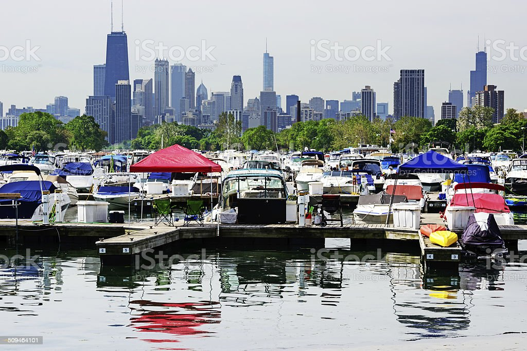Diversey Harbor in Lincoln Park, Chicago stock photo