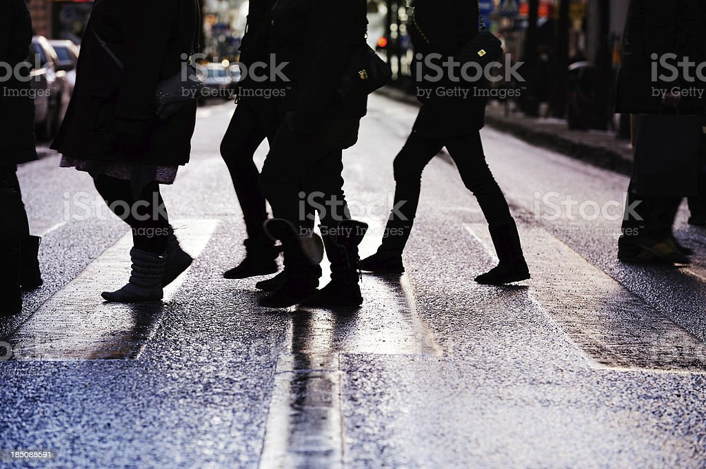 Diversified crowd on zebra crossing royalty-free stock photo